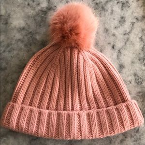 Pink pompon beanie - new with tags